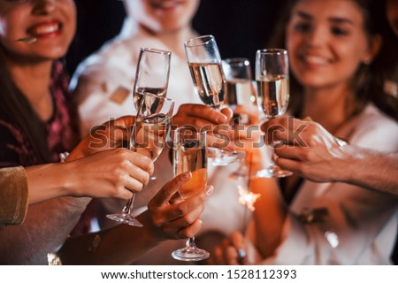 Knocking glasses. Group of cheerful friends celebrating new year indoors with drinks in hands. #1528112393