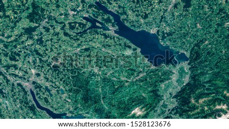 High resolution satellite image of Lake Constance, Lake Zürich, Cities of Zürich, St. Gallen, Lindau, Constance, Winterthur from above, aerial view, contains modified Copernicus Sentinel data [2019]