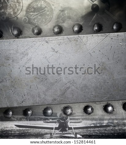 Retro aviation, grunge military background