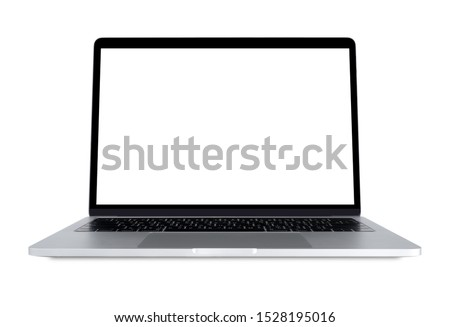 Blank screen Laptop Computer isolated on white background with clipping path. #1528195016