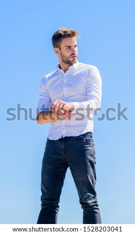 Young expertise. confident businessman. Handsome man fashion model. formal male fashion. modern lifestyle. success concept. Sky background. sexy macho man. male grooming. Bearded guy business style. #1528203041