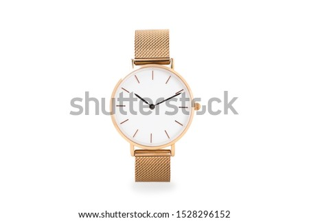 Luxury watch isolated on white background. With clipping path. Gold watch. Women watch. Female watch. #1528296152