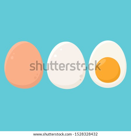 vector food icon set of boiled eggs. Image Eggs  in shell. Illustration of boiled eggs in flat minimalism style.