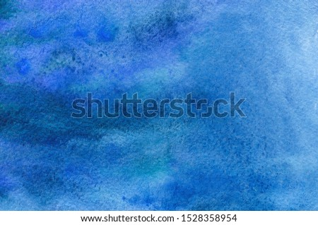 Abstract Hand Painted Dark Blue Watercolor Background