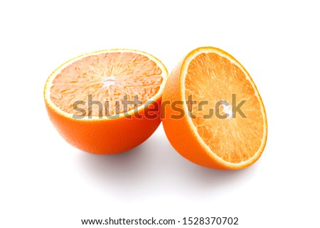 Two beautiful juicy fresh halves of one ripe tasty orange fruit isolated on a white background. Clipping path #1528370702