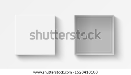 White square box top view. Open and close gift boxes. Container mockup. Realistic paper shoebox. Empty carton package. Vector present wrap. #1528418108