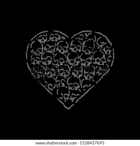 Heart made of skulls. Design for printing on t-shirts, stickers and more. Vector. #1528437695