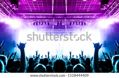 Concert hall crowded with people in front of a stage lit for the gig. #1528444409