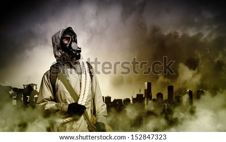 Stalker against nuclear background. Disaster and pollution #152847323