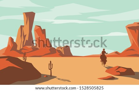 The scene of the wild west and the desert with cowboy riding a horse, vector illustration and design.