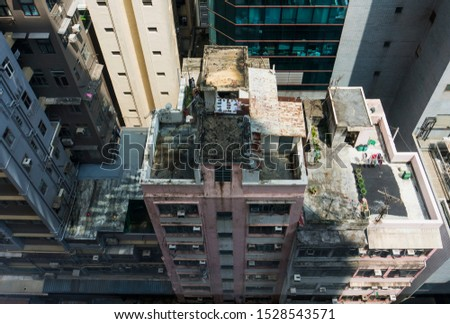 Hong Kong living , city life , roof top garden , looking down on the city  #1528543571