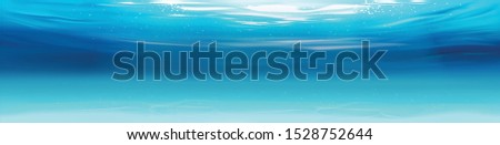 Ocean landscape Realistic underwater background. Ocean deep water, sea under water level, sun rays blue wave horizon. Nature background with clouds. Water surface 3D vector concept.