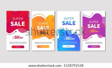Dynamic modern fluid mobile for sale banners. Sale banner template design, Super sale special offer set. Vector illustration #1528792538