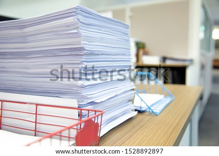 Pile of a lot papers documents on desk office stack up. #1528892897