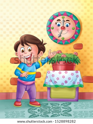 beautiful and colorful illustration of clock and boy