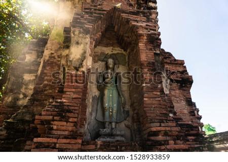 Wat Mahathat in Buddhist temple complex in Ayutthaya near Bangkok. Thailand Stutue religion #1528933859