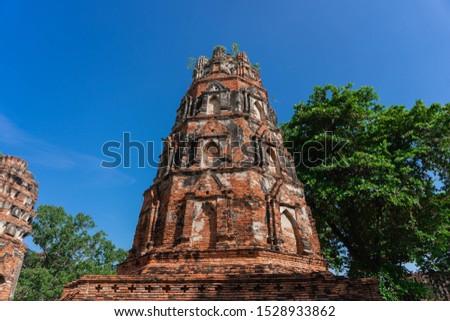 Wat Mahathat in Buddhist temple complex in Ayutthaya near Bangkok. Thailand Stutue religion #1528933862