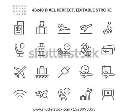 Simple Set of Airport Related Vector Line Icons. Contains such Icons as Departure, Tickets, Baggage Claim and more. Editable Stroke. 48x48 Pixel Perfect. #1528993355