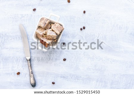 Flavored Halva pieces top view or overhead view composition with copy space #1529015450