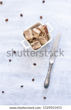 Flavored Halva pieces top view or overhead view composition  #1529015453