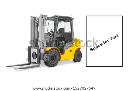 Forklift Truck Isolated on White Background. Industrial Vehicle. Internal Combustion Pneumatic Truck. Diesel Counterbalance Truck. Warehouse Equipment. Yellow Forklift Truck Side View #1529027549