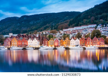 Bergen, Norway - 29 September 2019 ; historical building of Bergen at morning , UNESCO World Cultural Heritage site #1529030873