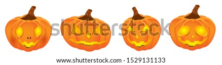 Set pumpkin on white background. The main symbol of the Happy Halloween holiday. Orange pumpkin with creepy smile for your design for the holiday Halloween. Vector illustration for horror decoration. #1529131133