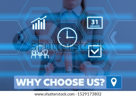 Conceptual hand writing showing Why Choose Us Question. Business photo showcasing Reasons for choosing our brand over others arguments Woman wear work suit presenting presentation smart device. #1529173802