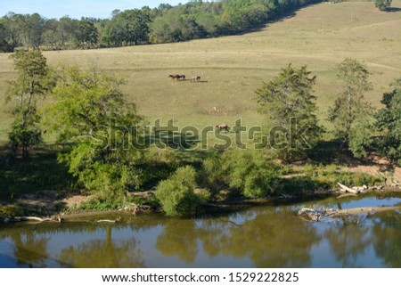Horse pasture along the New River in Southwest Virginia.  #1529222825