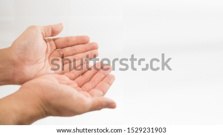 Isolated Praying Hands. Hand making of the Muslims and the blessing of Christians.Isolated white for background. #1529231903