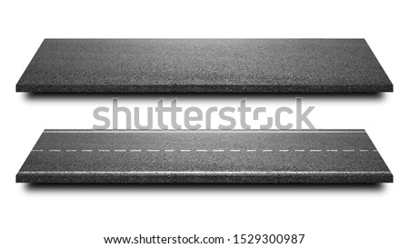Asphalt road isolated in pure white background. Straight highway of road lane for transportation or logistics. ( Clipping path )  #1529300987
