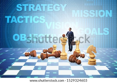 Strategy and tactics concept with businessman #1529324603