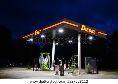 Waupaca, Wisconsin / USA - October 12th, 2019: Kwik Trip Diesel fuel pump station in Waupaca, Wi. Fueling Tractor trucks and Diesel Trucks and Tractors.  #1529329112