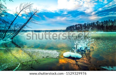 Winter forest river ice snow landscape. Winter forest river view. Winter forest river snow  scene. Winter forest river snow landscape #1529329976