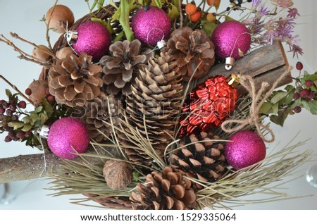 pine cones and Christmas ornaments. merry christmas and happy new year. #1529335064
