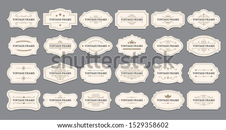 Ornamental label frames. Old ornate labels, decorative vintage frame and retro badge. Royal wedding insignia, sale sticker or invitation card. Isolated vector symbols set Royalty-Free Stock Photo #1529358602