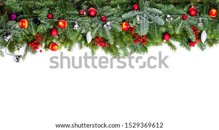 Christmas decorative background border with red bauble decorations and holly berries #1529369612