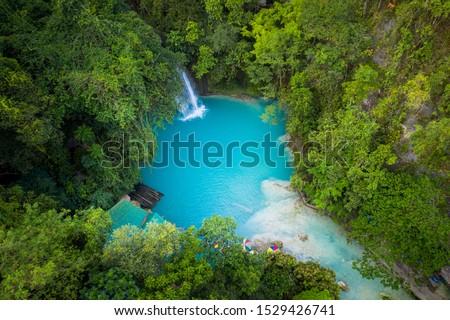 Kawasan waterfalls located on Cebu Island, Philippines - Beautiful waterfall in the jungle #1529426741