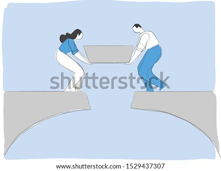 A couple of man and woman is finishing to build a bridge putting the last piece. Building happy positive relationship in a family concept. Connect the two sides of the bridge. Vector illustration Royalty-Free Stock Photo #1529437307