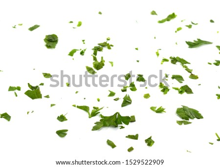 Fresh green chopped parsley leaves isolated on white background and texture, top view. Chopped parsley on a white background isolated. Chopped Parsley Leaves. Fresh Herbs  #1529522909