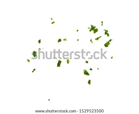 Fresh green chopped parsley leaves isolated on white background and texture, top view. Chopped parsley on a white background isolated. Chopped Parsley Leaves. Fresh Herbs  #1529523500