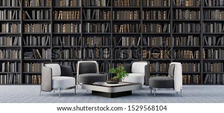 Living room interior design with library 3D Render 3D illustration #1529568104