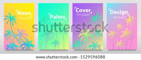 Neon iridescent gradient palms background with frame for your text. Glitch sets. Beauty bright neon colours template, cards, brochures, flyers. #1529596088