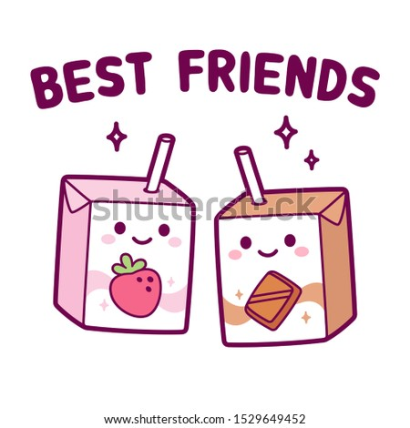 Cute cartoon strawberry and chocolate milk box, Best friends couple. Two kawaii milk cartons with drinking straw and smiling face. Isolated clip art illustration.