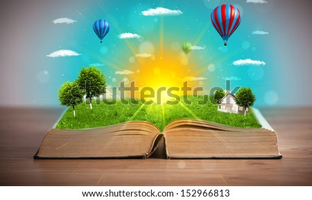 Open book with green nature world coming out of its pages, ecological concept #152966813