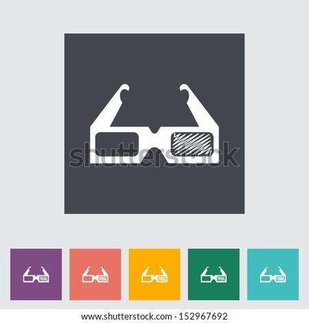 3D glasses single flat icon