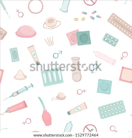 Vector seamless pattern with various contraceptives on a white background. #1529772464