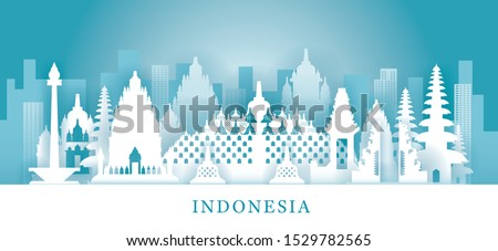 Indonesia Skyline Landmarks in Paper Cutting Style, Famous Place and Historical Buildings, Travel and Tourist Attraction #1529782565