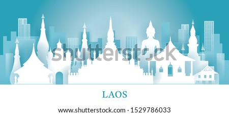 Laos Skyline Landmarks In Paper Cutting Style, Famous Place and Historical Buildings, Travel and Tourist Attraction #1529786033