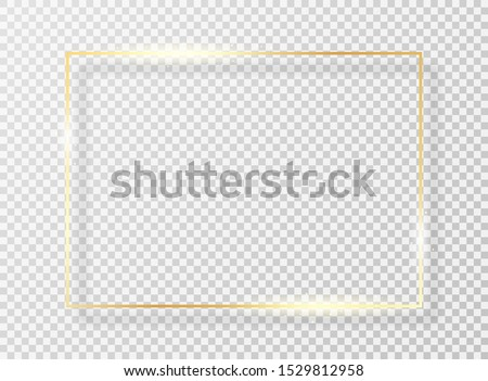 Golden frame with light effect. Golden shiny frame or border with glare and glitters isolated on transparent background. Vector #1529812958